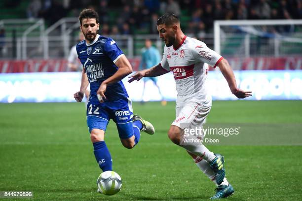 Mathieu DEPLAGNE of Troyes and Andy DELORT of Toulouse during the Ligue 1 match between ESTAC Troyes and FC Toulouse at Stade de l'Aube on September...