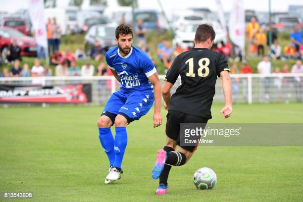 Mathieu Deplagne of Troyes and Christos Tasoulis of Lens during the pre season friendly match between RC Lens and ESTAC Troyes on July 12 2017 in...