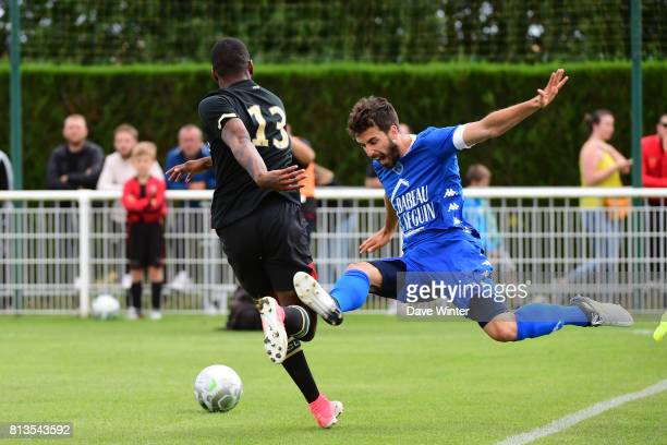 Mathieu Deplagne of Troyes and Kevin Fortune of Lens during the pre season friendly match between RC Lens and ESTAC Troyes on July 12 2017 in...