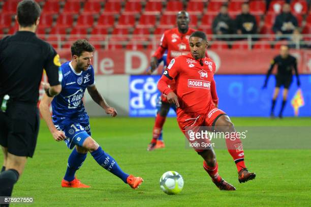 Mathieu Deplagne of Troyes and Wesley Said of Dijon during the Ligue 1 match between Dijon FCO and Troyes ESTAC at Stade Gaston Gerard on November 18...