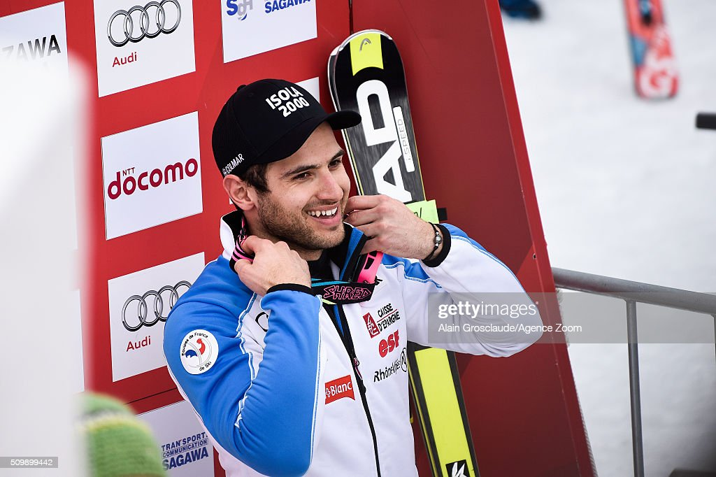 <a gi-track='captionPersonalityLinkClicked' href=/galleries/search?phrase=Mathieu+Faivre&family=editorial&specificpeople=7462236 ng-click='$event.stopPropagation()'>Mathieu Faivre</a> of France celebrates during the Audi FIS Alpine Ski World Cup Men's Giant Slalom on February 13, 2016 in Naeba, Japan.