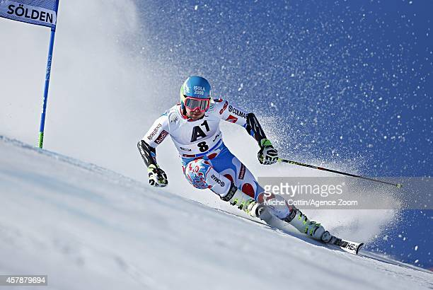 Mathieu Faivre of France competes during the Audi FIS Alpine Ski World Cup Men's Giant Slalom on October 26 2014 in Soelden Austria
