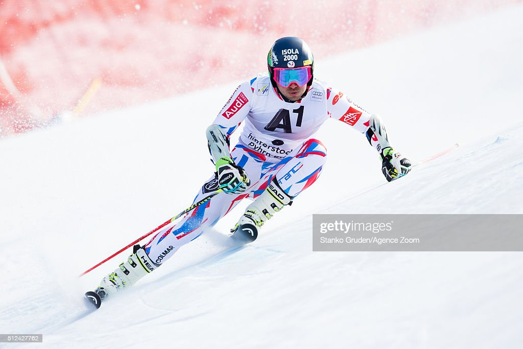 <a gi-track='captionPersonalityLinkClicked' href=/galleries/search?phrase=Mathieu+Faivre&family=editorial&specificpeople=7462236 ng-click='$event.stopPropagation()'>Mathieu Faivre</a> of France competes during the Audi FIS Alpine Ski World Cup Men's Giant Slalom on February 26, 2016 in Hinterstoder, Austria.