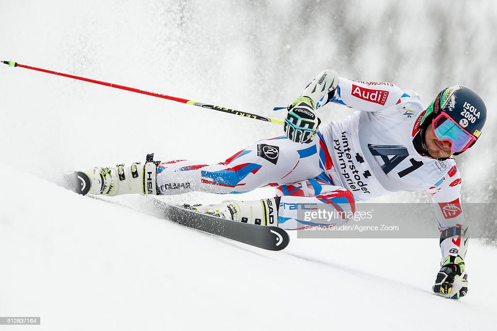 <a gi-track='captionPersonalityLinkClicked' href=/galleries/search?phrase=Mathieu+Faivre&family=editorial&specificpeople=7462236 ng-click='$event.stopPropagation()'>Mathieu Faivre</a> of France competes during the Audi FIS Alpine Ski World Cup Men's Giant Slalom on February 268, 2016 in Hinterstoder, Austria.