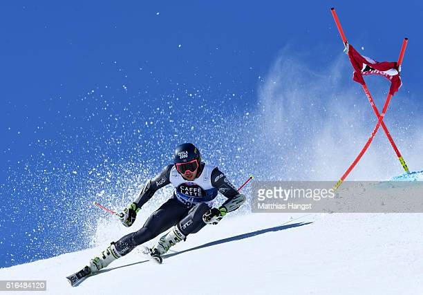 Mathieu Faivre of France competes during the Audi FIS Alpine Ski World Cup Finals Men's Giant Slalom on March 19 2016 in St Moritz Switzerland