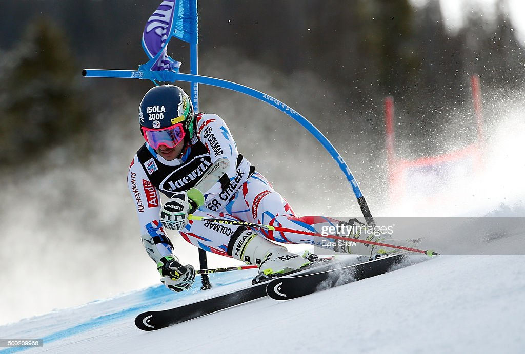 <a gi-track='captionPersonalityLinkClicked' href=/galleries/search?phrase=Mathieu+Faivre&family=editorial&specificpeople=7462236 ng-click='$event.stopPropagation()'>Mathieu Faivre</a> of France descends the hill during the first run of the Audi FIS Ski World Cup Giant Slalom race on the Birds of Prey on December 6, 2015 in Beaver Creek, Colorado.