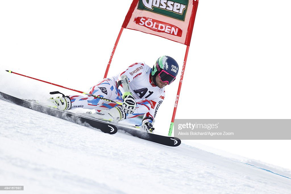 <a gi-track='captionPersonalityLinkClicked' href=/galleries/search?phrase=Mathieu+Faivre&family=editorial&specificpeople=7462236 ng-click='$event.stopPropagation()'>Mathieu Faivre</a> of France in action during the Audi FIS Alpine Ski World Cup Men's Giant Slalom on October 25, 2015 in Soelden, Austria.