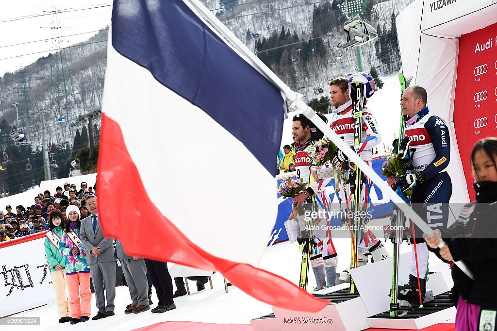 <a gi-track='captionPersonalityLinkClicked' href=/galleries/search?phrase=Mathieu+Faivre&family=editorial&specificpeople=7462236 ng-click='$event.stopPropagation()'>Mathieu Faivre</a> of France takes 2nd place, <a gi-track='captionPersonalityLinkClicked' href=/galleries/search?phrase=Alexis+Pinturault&family=editorial&specificpeople=6587717 ng-click='$event.stopPropagation()'>Alexis Pinturault</a> of France takes 1st place and <a gi-track='captionPersonalityLinkClicked' href=/galleries/search?phrase=Massimiliano+Blardone&family=editorial&specificpeople=776052 ng-click='$event.stopPropagation()'>Massimiliano Blardone</a> of Italy takes 3rd place during the Audi FIS Alpine Ski World Cup Men's Giant Slalom on February 13, 2016 in Naeba, Japan.