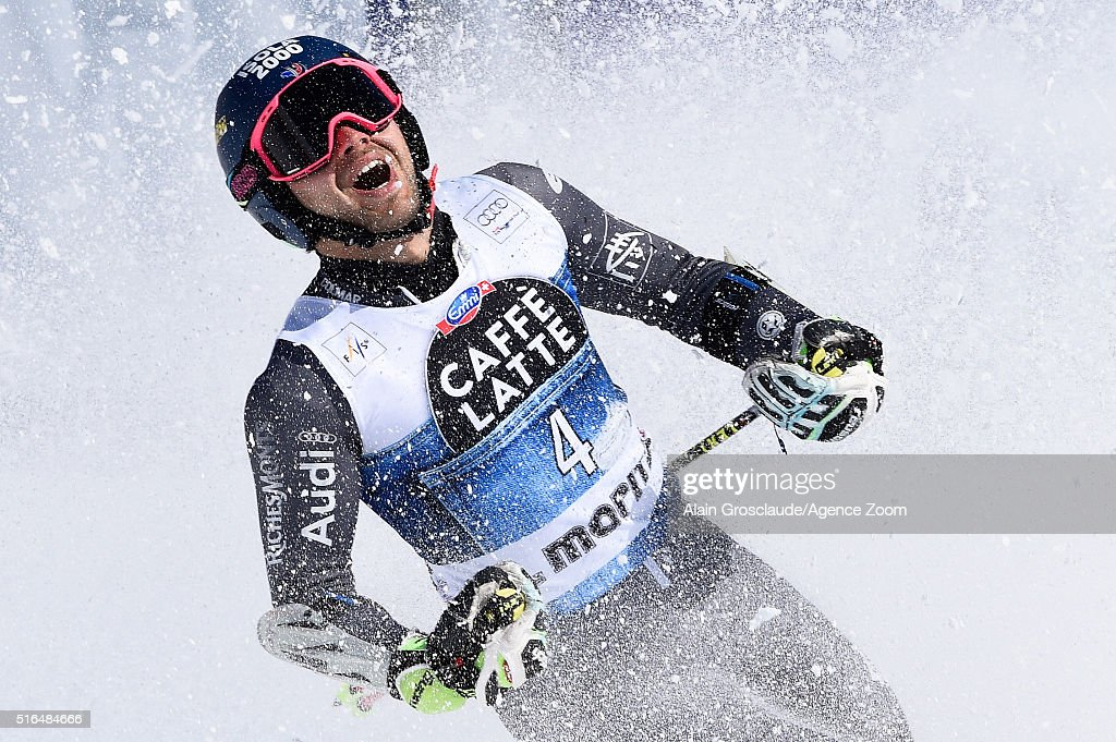 Mathieu Faivre of France takes 3rd place during the Audi FIS Alpine Ski World Cup Finals Men's Giant Slalom and Women's Slalom on March 19 2016 in St...
