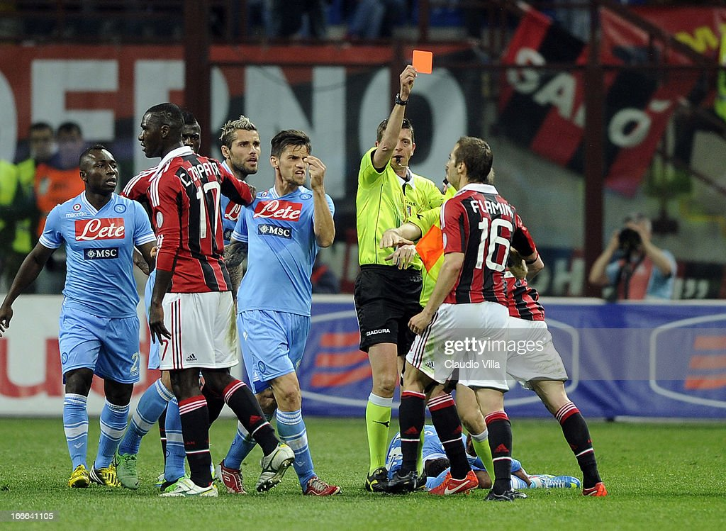 <a gi-track='captionPersonalityLinkClicked' href=/galleries/search?phrase=Mathieu+Flamini&family=editorial&specificpeople=242961 ng-click='$event.stopPropagation()'>Mathieu Flamini</a> of AC Milan #16 is shown the red card during the Serie A match between AC Milan and SSC Napoli at San Siro Stadium on April 14, 2013 in Milan, Italy.