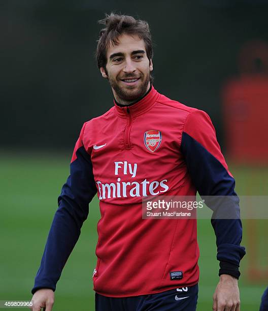 Mathieu Flamini of Arsenal during a training session at London Colney on December 31 2013 in St Albans England
