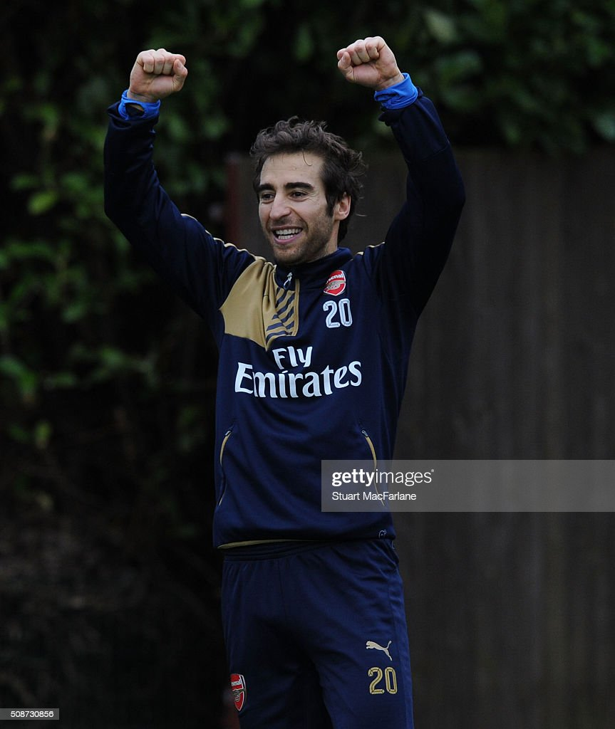Mathieu Flamini of Arsenal during a training session at London Colney on February 6, 2016 in St Albans, England.