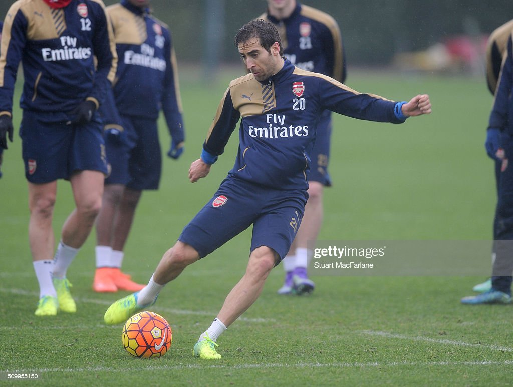 Mathieu Flamini of Arsenal during a training session at London Colney on February 13, 2016 in St Albans, England.