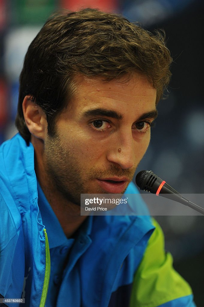 Mathieu Flamini of Arsenal during the Arsenal Press Conference at Ataturk Olympic Stadium on August 18, 2014 in Istanbul, .