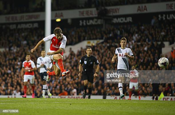 Mathieu Flamini of Arsenal he scores their second goal during the Capital One Cup third round match between Tottenham Hotspur and Arsenal at White...
