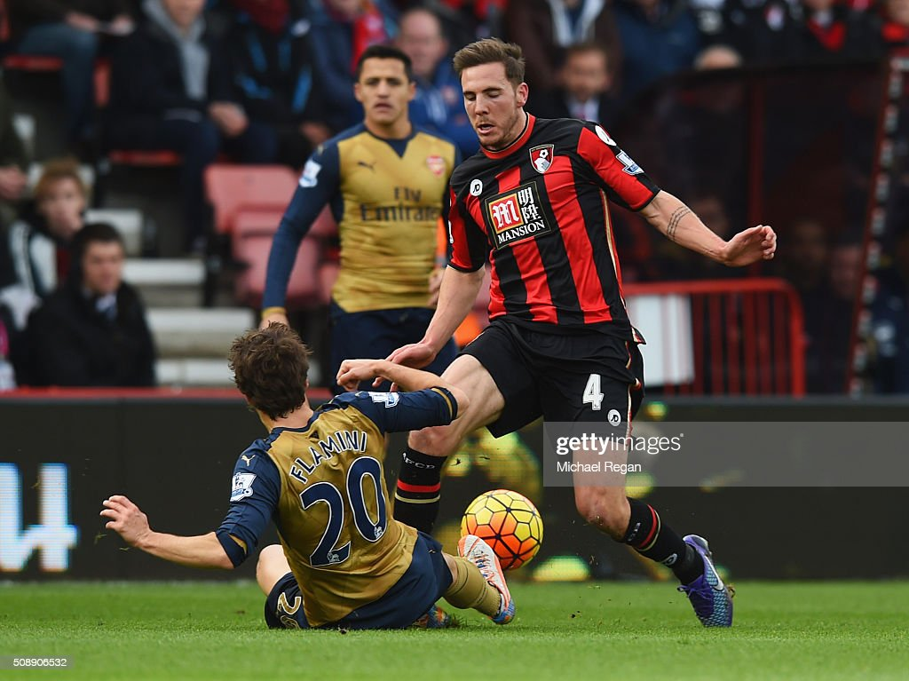 <a gi-track='captionPersonalityLinkClicked' href=/galleries/search?phrase=Mathieu+Flamini&family=editorial&specificpeople=242961 ng-click='$event.stopPropagation()'>Mathieu Flamini</a> of Arsenal slides to challenge Dan Gosling of Bournemouth during the Barclays Premier League match between A.F.C. Bournemouth and Arsenal at the Vitality Stadium on February 7, 2016 in Bournemouth, England.