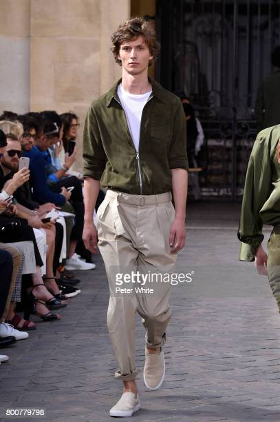 Mathieu Franke walks the runway during the Officine Generale Menswear Spring/Summer 2018 show as part of Paris Fashion Week on June 25 2017 in Paris...