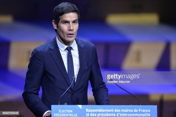 Mathieu Gallet CEO of Radio France introduces the conference where the French Presidential Candidate will discuss with French mayors at Maison de la...