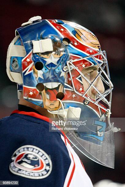 Mathieu Garon of the Columbus Blue Jackets skates during the warm up period prior to facing the Montreal Canadiens in the NHL game on November 24...
