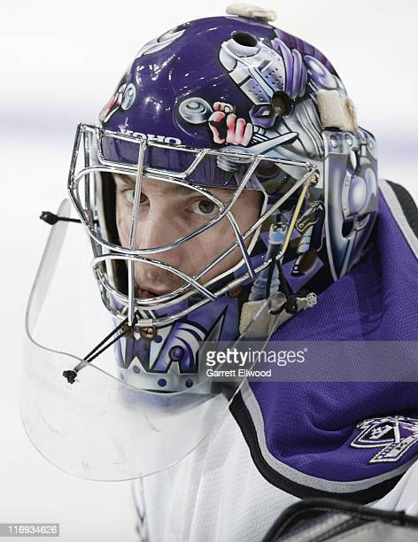 Mathieu Garon of the Los Angeles Kings prior to the game against the Colorado Avalanche on December 28 2005 at Pepsi Center in Denver Colorado
