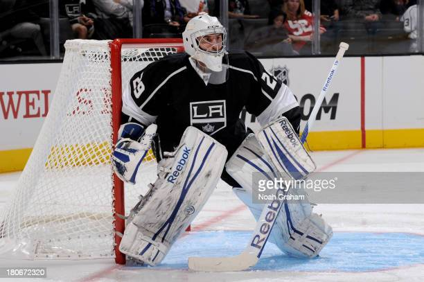 Mathieu Garon of the Los Angeles Kings stands in goal against the Phoenix Coyotes at Staples Center on September 15 2013 in Los Angeles California