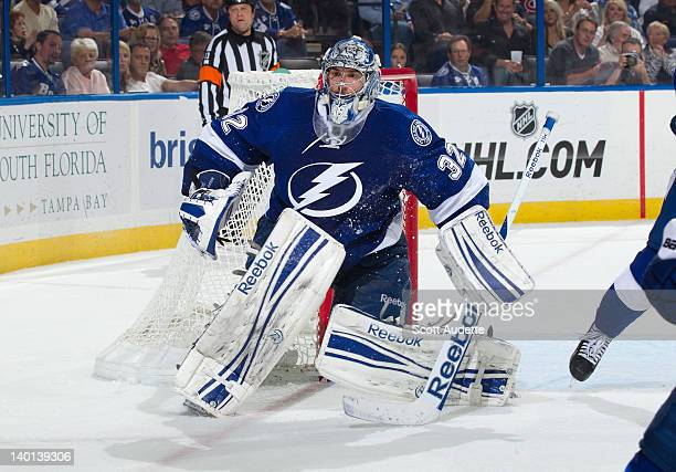 Mathieu Garon of the Tampa Bay Lightning defends the goal against the Montreal Canadiens at the Tampa Bay Times Forum on February 28 2012 in Tampa...