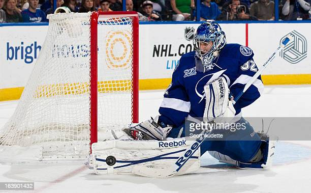 Mathieu Garon of the Tampa Bay Lightning guards the net during the second period of the game against the Carolina Hurricanes at the Tampa Bay Times...