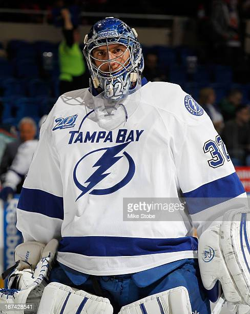 Mathieu Garon of the Tampa Bay Lightning skates during warmups prior to the game against the New York Islanders at Nassau Veterans Memorial Coliseum...