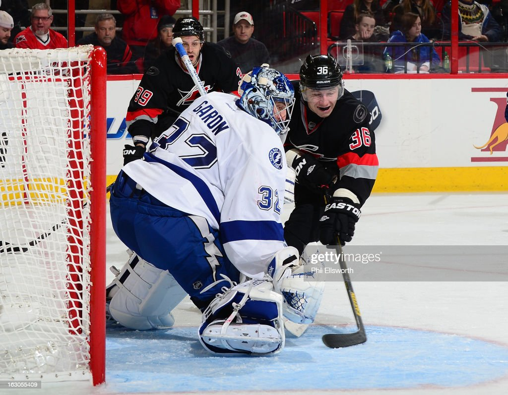 <a gi-track='captionPersonalityLinkClicked' href=/galleries/search?phrase=Mathieu+Garon&family=editorial&specificpeople=206119 ng-click='$event.stopPropagation()'>Mathieu Garon</a> #32 of the Tampa Bay Lightning stops the shot of <a gi-track='captionPersonalityLinkClicked' href=/galleries/search?phrase=Jussi+Jokinen&family=editorial&specificpeople=570599 ng-click='$event.stopPropagation()'>Jussi Jokinen</a> #36 of the Carolina Hurricanes during an NHL game on February 23, 2013 at PNC Arena in Raleigh, North Carolina.
