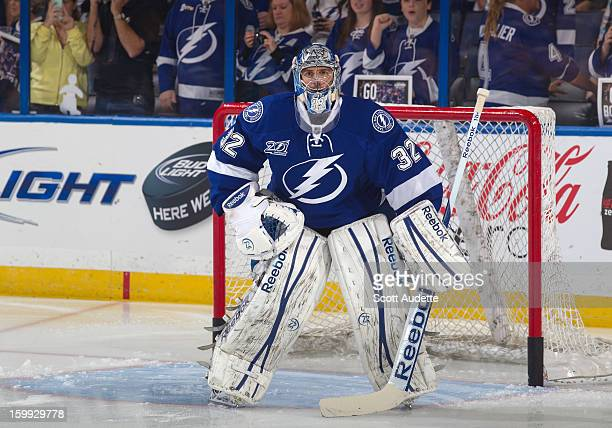 Mathieu Garon of the Tampa Bay Lightning warms up before the game against the Washington Capitals at the Tampa Bay Times Forum on January 19 2013 in...