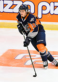 Mathieu Henderson of the Flint Firebirds takes warmup prior to a game against the Mississauga Steelheads on October 4 2015 at the Hershey Centre in...