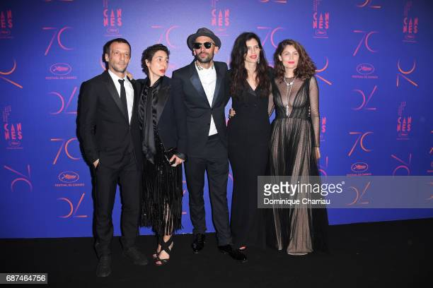 Mathieu Kassovitz a guest JR Maiwen Le Besco and Laetitia Casta attend the 70th Anniversary Dinner during the 70th annual Cannes Film Festival at on...