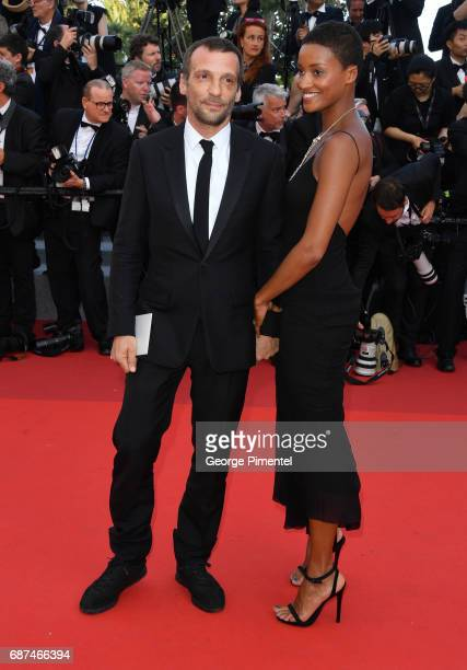 Mathieu Kassovitz and girlfriend Aude attend the 70th Anniversary screening during the 70th annual Cannes Film Festival at Palais des Festivals on...