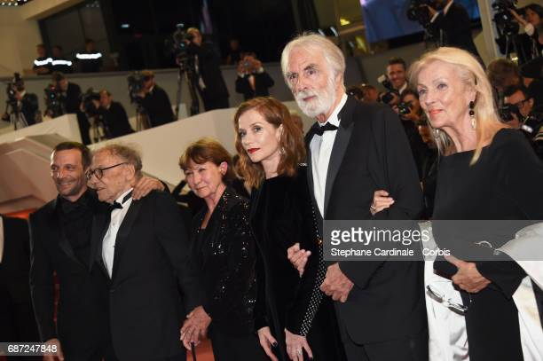 Mathieu Kassovitz JeanLouis Trintignant Marianne Hoepfner Isabelle Huppert Michael Haneke and Susi Haneke attend the 'Happy End' premiere during the...