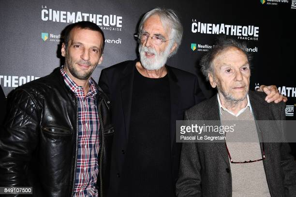 Mathieu Kassovitz Michael Hanecke and Jean Louis Trintignant attend the 'Happy End' Paris Premiere at la cinematheque on September 18 2017 in Paris...