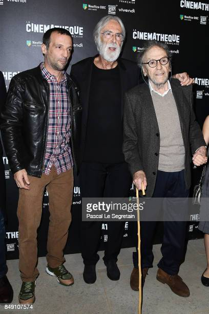 Mathieu Kassovitz Michael Hanecke and JeanLouis Trintignant attend the 'Happy End' Paris Premiere at la cinematheque on September 18 2017 in Paris...