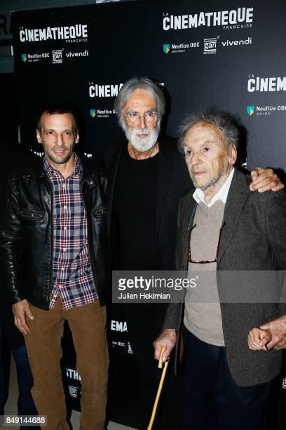 Mathieu Kassovitz Michael Haneke Jean Louis Trintignant attend 'Happy End' Paris Premiere at la cinematheque on September 18 2017 in Paris France