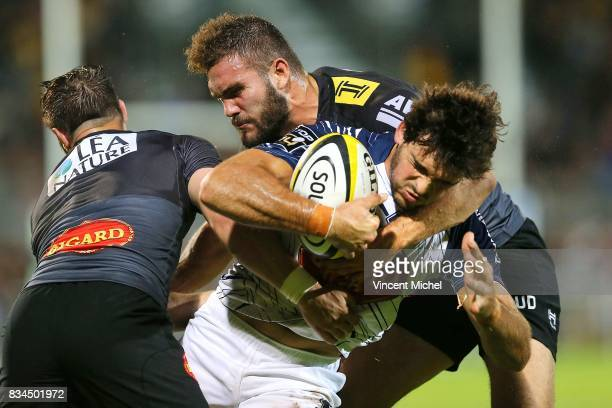 Mathieu Lamoulie of Agen during the preseason match between Stade Rochelais and SU Agen on August 17 2017 in La Rochelle France