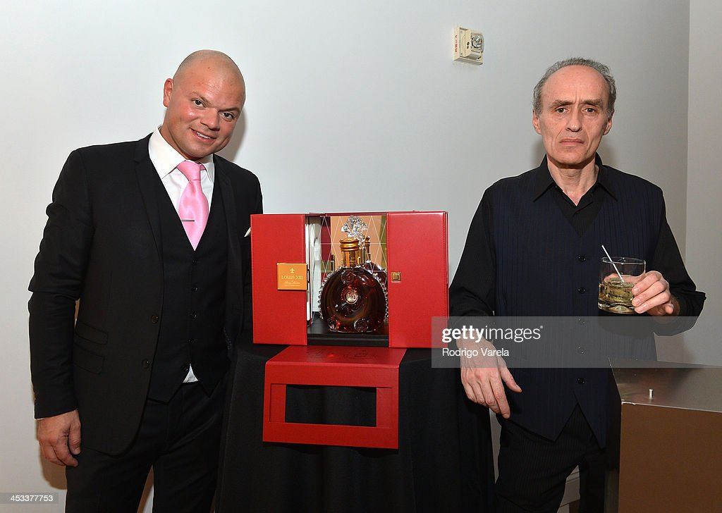 Mathieu Levy and Roman Kriheli attend the Roman Kriheli Un:veiled Exhibit At Avant Gallery, Featuring The Unveiling Of 'The Most Beautiful Woman In The World' Painting at Epic Hotel on December 3, 2013 in Miami, Florida.