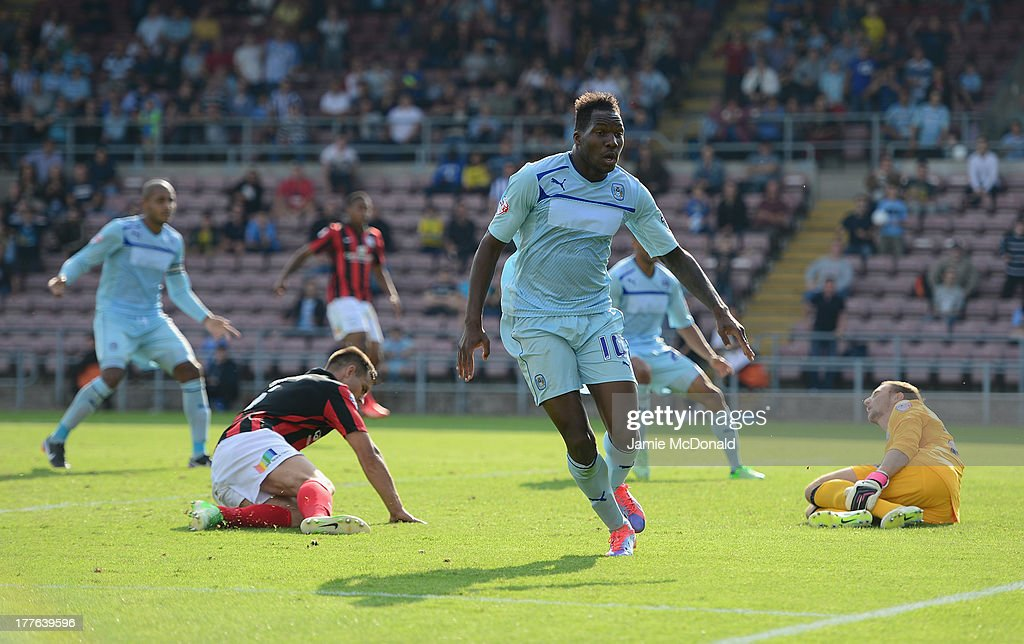 Mathieu Manset of Coventry City celebrates his goal during the Sky Bet League One match between Coventry City and Preston North End at Sixfields on August 25, 2013 in Northampton, England.