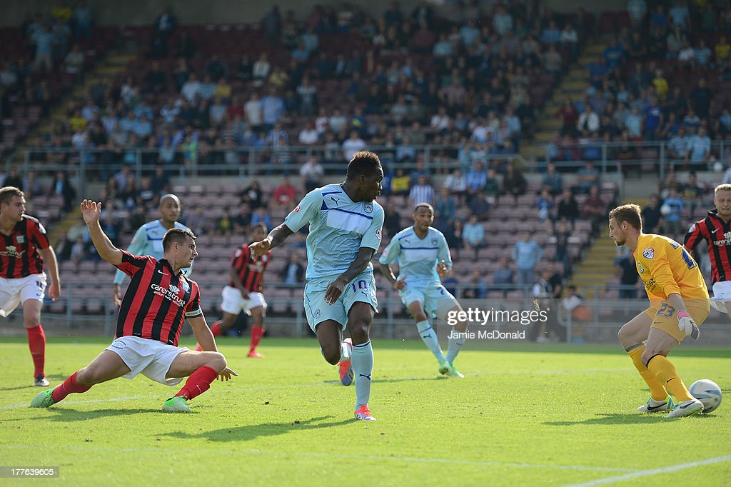 Mathieu Manset of Coventry City scores his goal during the Sky Bet League One match between Coventry City and Preston North End at Sixfields on August 25, 2013 in Northampton, England.