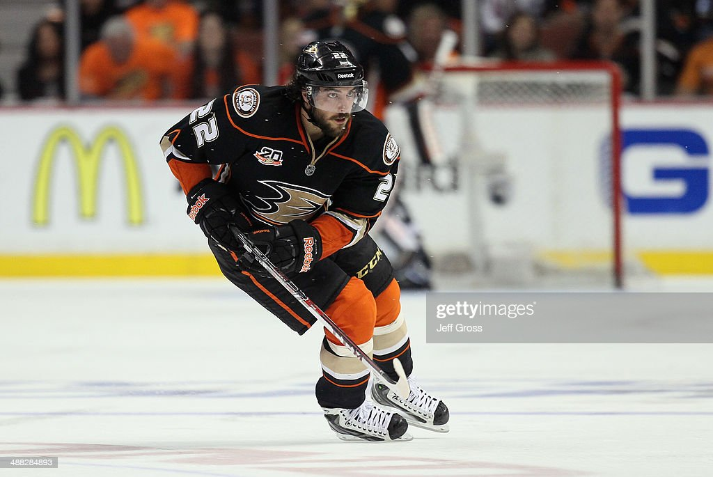 <a gi-track='captionPersonalityLinkClicked' href=/galleries/search?phrase=Mathieu+Perreault&family=editorial&specificpeople=776813 ng-click='$event.stopPropagation()'>Mathieu Perreault</a> #22 of the Anaheim Ducks skates against the Los Angeles Kings in Game One of the Second Round of the 2014 NHL Stanley Cup Playoffs at Honda Center on May 3, 2014 in Anaheim, California.