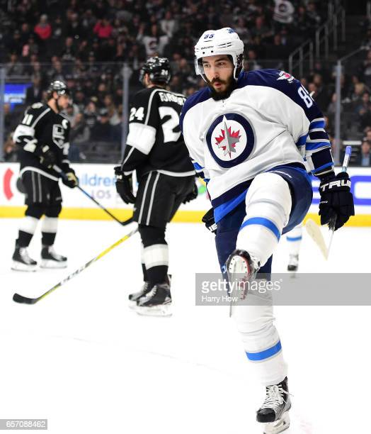 Mathieu Perreault of the Winnipeg Jets celebrates his goal to take a 10 lead over the Los Angeles Kings during the first period at Staples Center on...