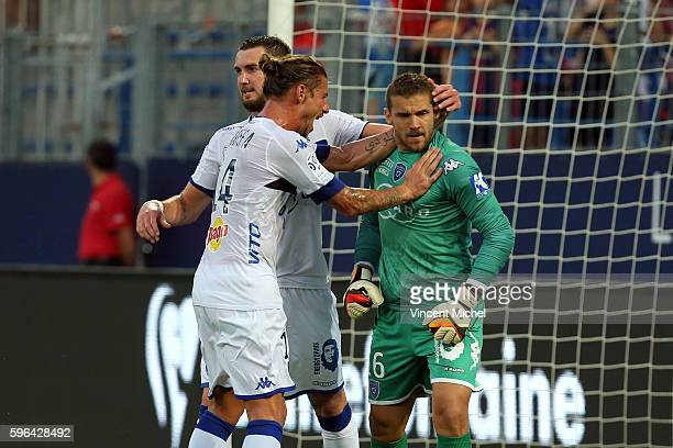 Mathieu Peybernes Medhi Mostefa and Jean Louis Leca of Caen during the French Ligue 1 match between SM Caen an Bastia at Stade Michel D'Ornano on...