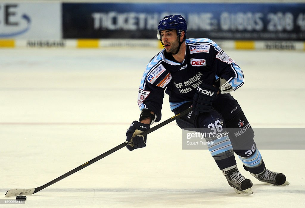 Mathieu Roy of Hamburg in action during the DEL game between Hamburg Freezers and Thomas Sabo Ice Tigers at O2 World on January 25, 2013 in Hamburg, Germany.