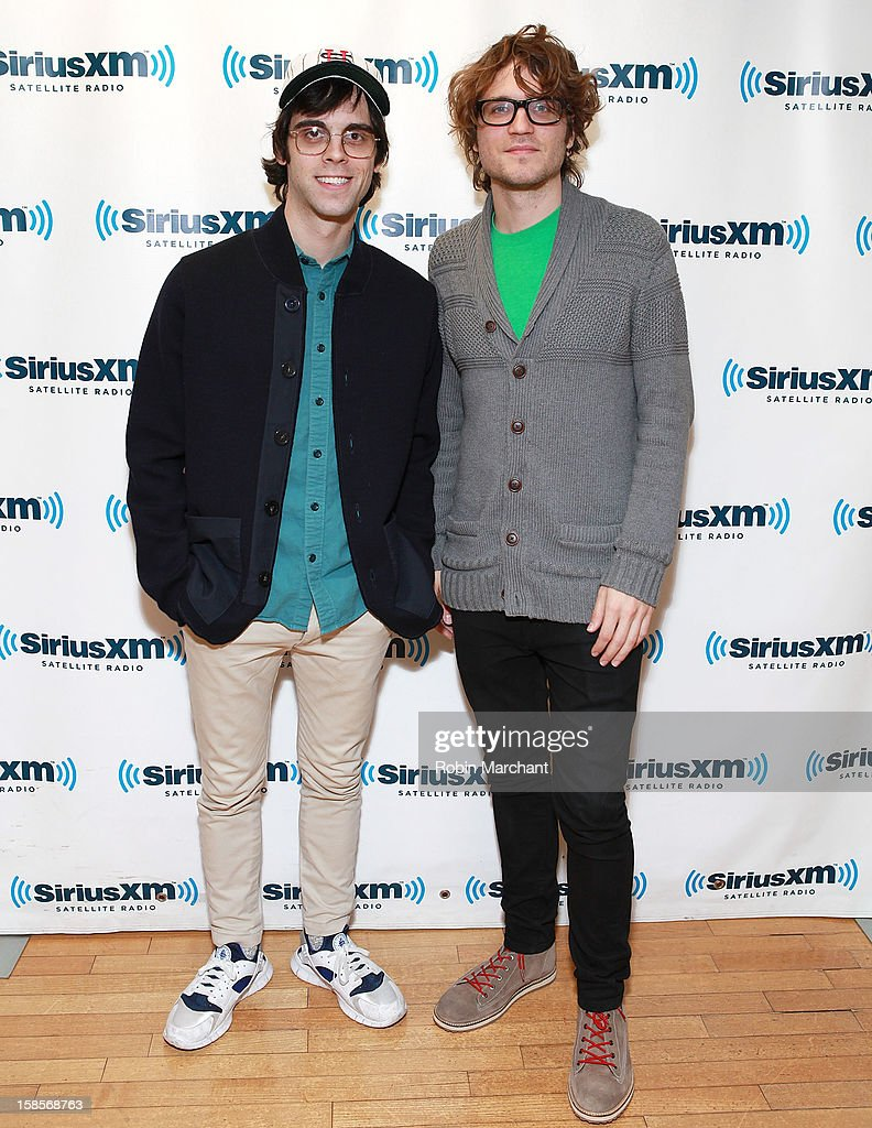 Mathieu Santos (L) and Wes Miles of Ra Ra Riot visit the SiriusXM Studios on December 19, 2012 in New York City.