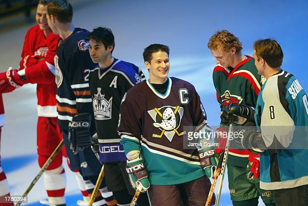Mathieu Schneider of the Los Angeles Kings Paul Kariya of the Anaheim Mighty Ducks Marian Gaborik of the Minnesota Wild and Teemu Selanne of the San...