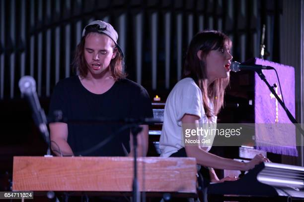 Mathieu Senechal and Charlotte Cardin perform onstage at the Communion music showcase during 2017 SXSW Conference and Festivals at St David's...