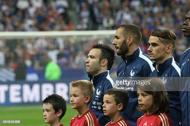 Mathieu Valbuena Karim Benzema and Antoine Griezmann of France during the International Friendly match between France and Spain at Stade de France on...
