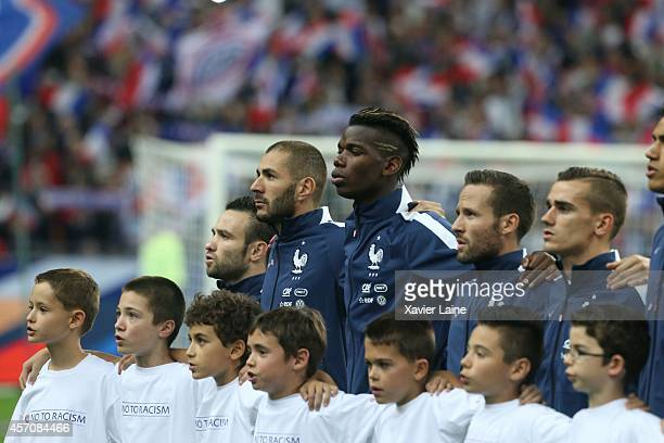 Mathieu Valbuena Karim Benzema Paul Pogba Yohan Cabaye and Antoine Griezmann of France pose before the International Friendly Soccer match between...